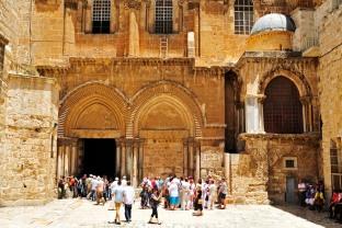 Jerusalem, entrada princial a la Iglesia del Santo Sepulcro